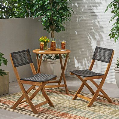 Ida Outdoor Acacia Wood Foldable Bistro Chairs with Wicker Seating (Set of 2)