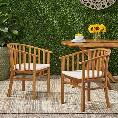 Nola Outdoor Wooden Dining Chairs with Cushions (Set of 2)