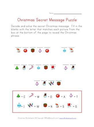 Christmas Puzzle Worksheet