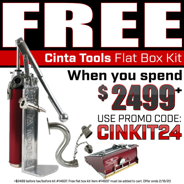Free Cinta Tools Flatbox Kit when you spend $2499+