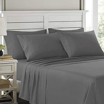 Embroidery 1800 Series 4 Pieces Egyptian Comfort Deep Pocket Bed Sheet Set