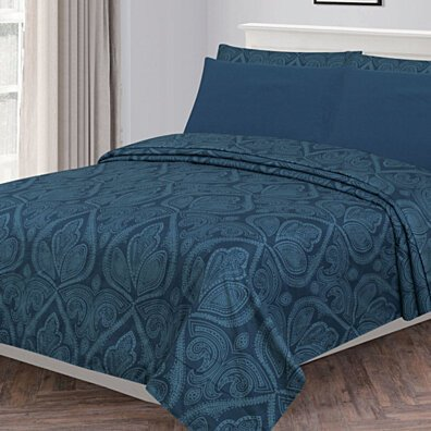 6 Piece: Paisley Printed Egyptian Bed Sheets set, Soft Bedding - Wrinkle, Fade, Stain Resistant