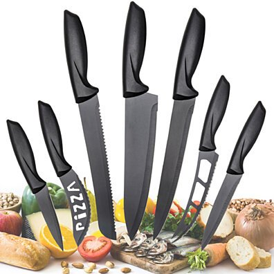 Stainless Steel Knife of 7 Piece -Multi-Use Kitchen Knives Set - Steak Knives, Cheese Knife - Pizza Knife, Bread Knife,Carving Knife