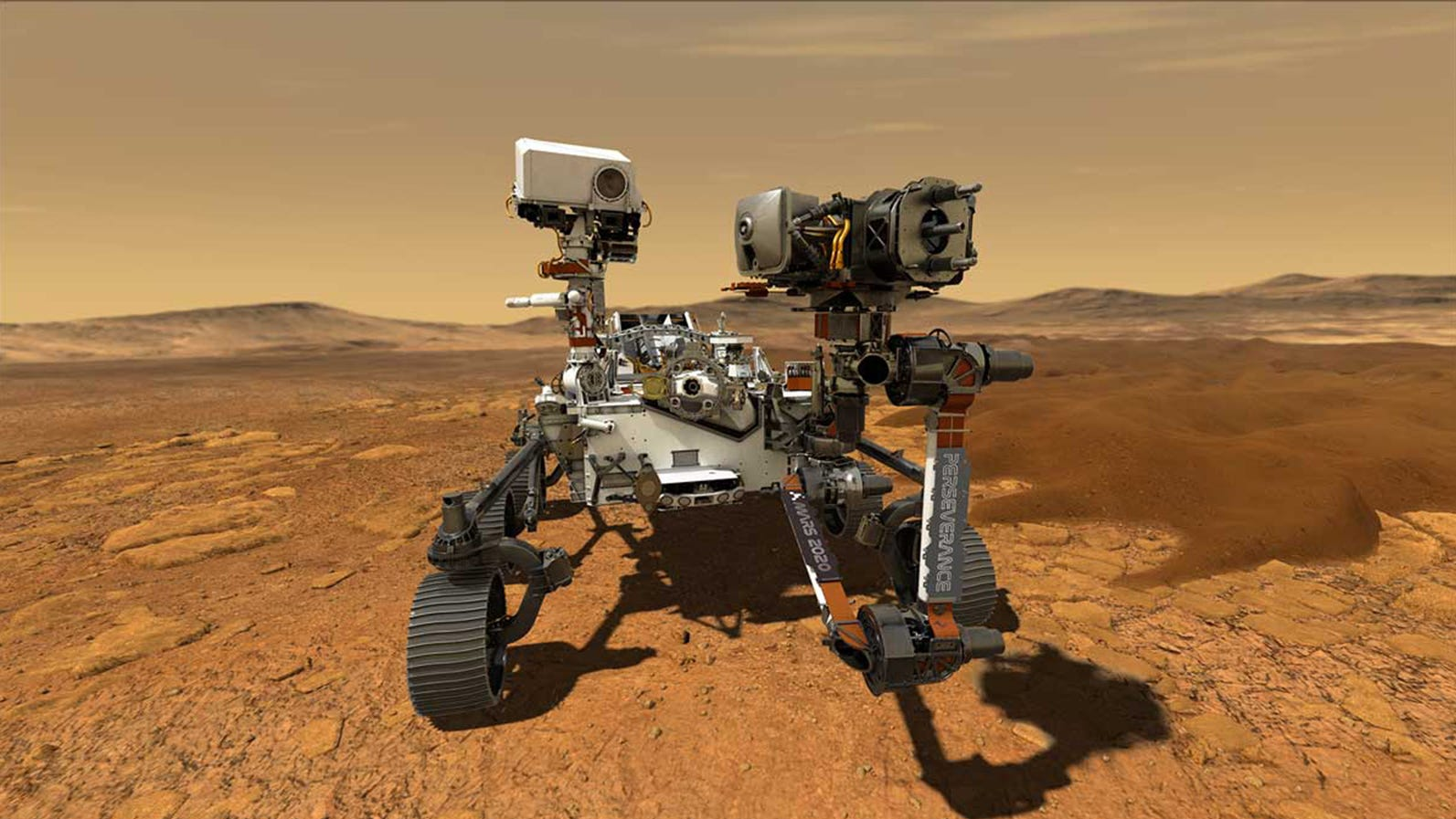 An artist's rendering of the new Mars Rover Persev