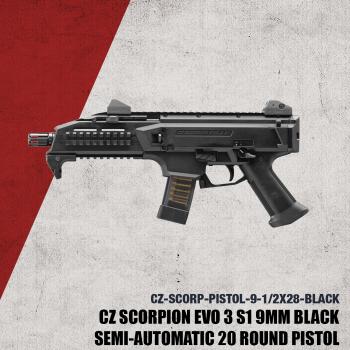 CZ Scorpion 9mm Pistol 20rd- 1/2x28-91351