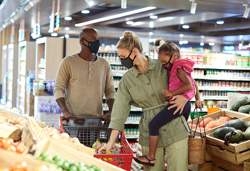stay safe while grocery shopping with Cambridge Mask