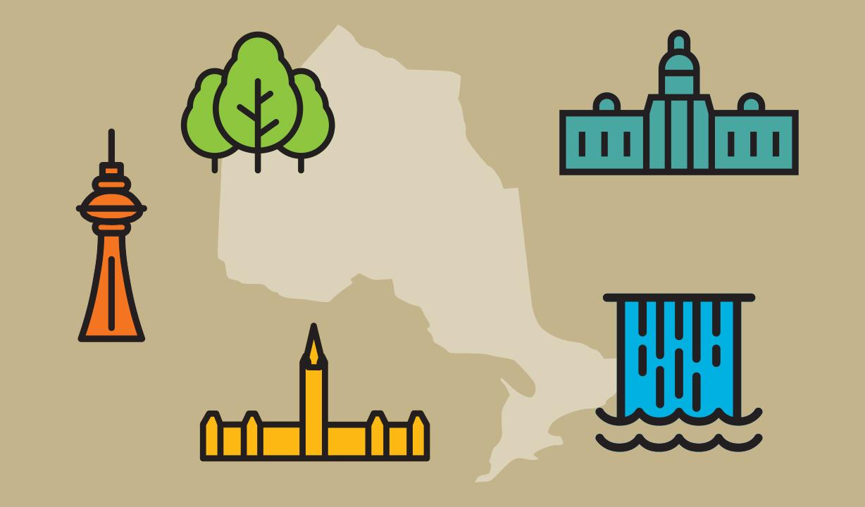Illustration of different landmarks representing the different Ontario Health regions