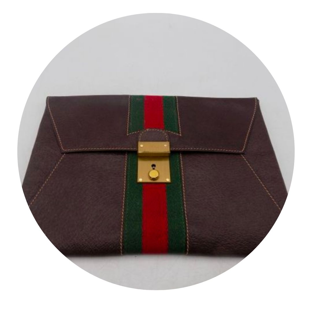 Gucci Dark Brown Envelop Clutch Purse