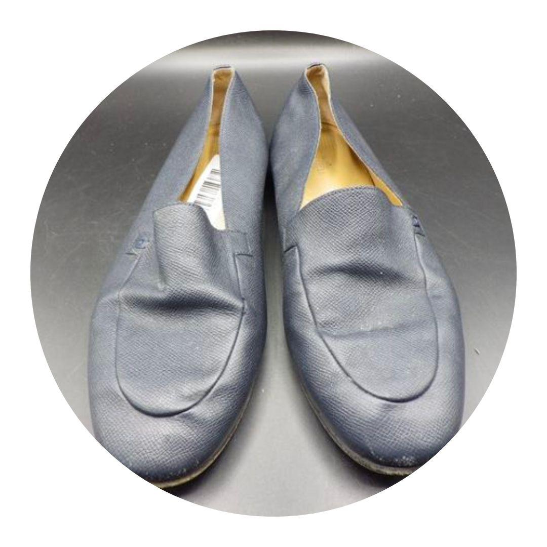 Hermes Men's Loafers Navy Blue Size 43