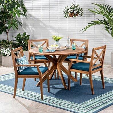 Jordan Outdoor 5 Piece Acacia Wood Dining Set