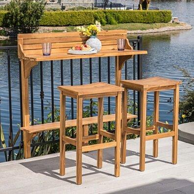 Cassie Outdoor 3 Piece Acacia Wood Balcony Bar Set