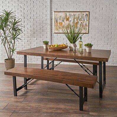 Blane Farmhouse Cottage 3 Piece Natural Walnut Finished Table and Bench Set