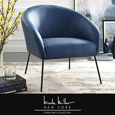 Nicole Miller Will Accent Chair - Upholstered | Metal Frame | Barrel Style