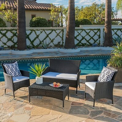 Mina Outdoor 4 Piece Wicker Chat Set with Water Resistant Cushions