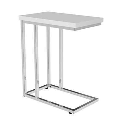 White Accent End Table Bedroom Living Room Bedside Space Saving 23.75 Inch