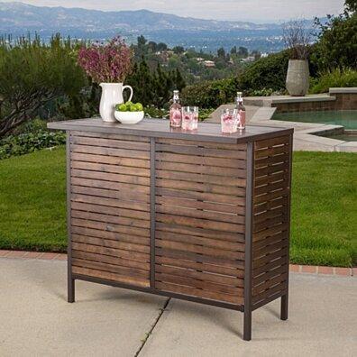 Isabel Dark Brown Acacia Wood & Rustic Metal Outdoor Bar Table