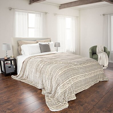 Lavish Home Fuzzy Warm Soft Blanket - King - Grey/Beige