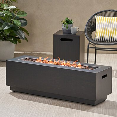 Hemmingway Outdoor Rectangular Fire Pit with Tank Holder