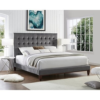 Fabrizio Velvet Tufted Platform Bedframe - King/ Queen/ Full/ Twin | Upholstered | Modern and Contemporary | Inspired Home