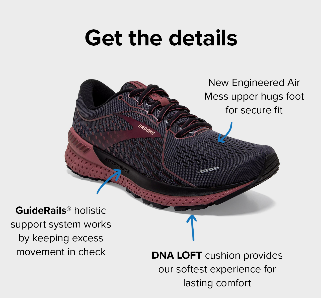 Get the details   New Engineered Air Mess upper hugs foot for secure fit   GuideRails holistic support system works by keeping excess movement in check   DNA Loft cushion provides our softest experience for lasting comfort