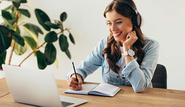 lady watching a webinar
