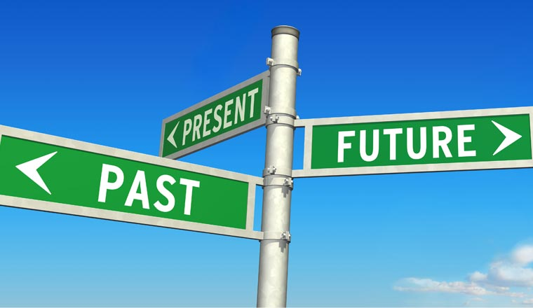 A picture of past, present and future road signs