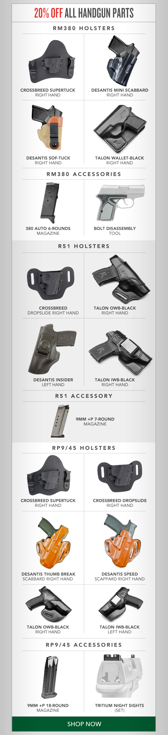20% OFF Handgun Parts