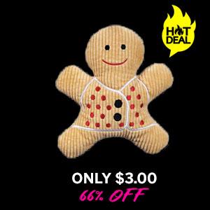 Grriggles Scented Gingerbread Man Dog Toy - Light Brown