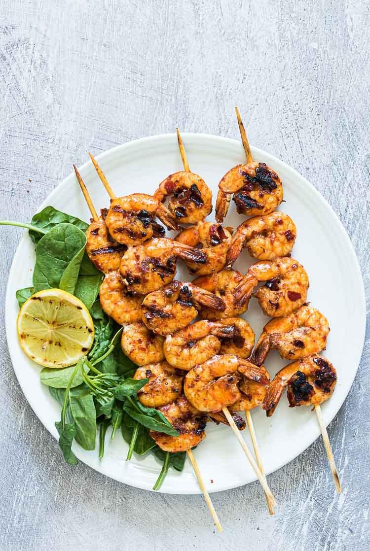 grilled shrimp on white plate