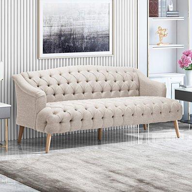 Erin Contemporary Tufted Fabric 3 Seater Sofa
