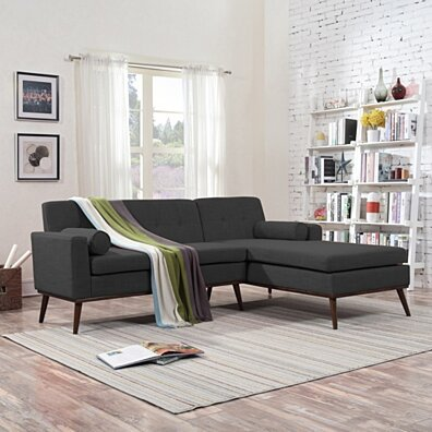 Sophia Mid Century Modern 2 Piece Fabric Sectional Sofa and Lounge Set