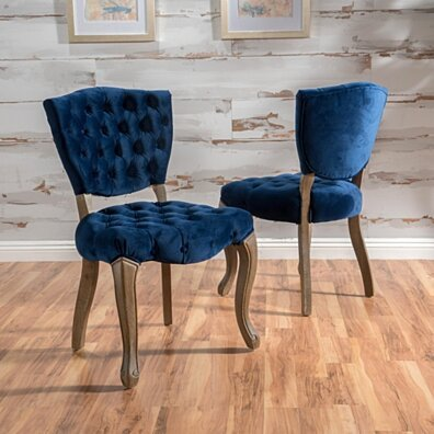Bates Tufted Velvet Dining Chair with Cabriole Legs (Set of 2)