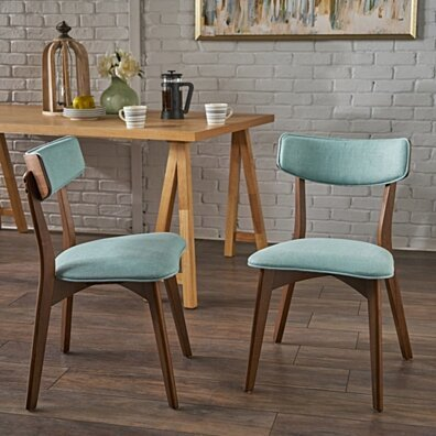 Molly Mid Century Modern Dining Chairs with Rubberwood Frame (Set of 2)