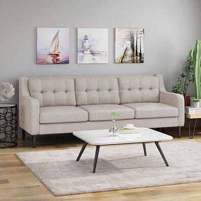 Nicole Tufted Fabric 3 Seater Sofa