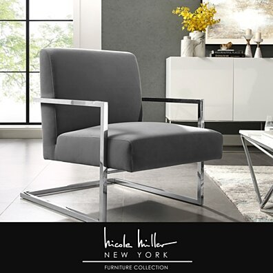 Nicole Miller Frankie Accent Chair - Upholstered | Metal Frame | Square Style