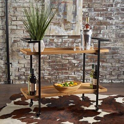 Gerard Industrial Finished Wooden Bar Cart