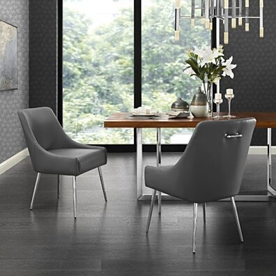 Mazolini Leather PU or Velvet Dining Chair - Set of 2 | Knob Handle | Stainless Steel Legs | Inspired Home
