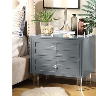 Maya MDF Wood Lacquer - 2 Drawers | Finish Lucite Leg | Side Table | Nightstand | Modern & Functional by Inspired Home