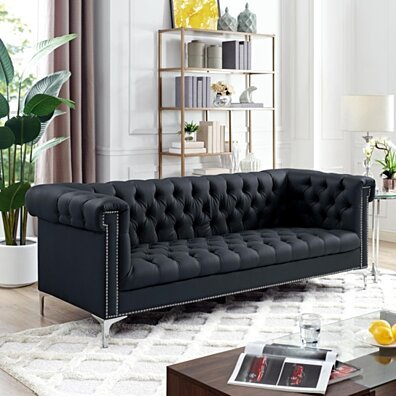 Steffi Leather Chesterfield Sofa - Silver Metal Legs | Button Tufted | Nailhead Trim | Modern | Livingroom | Inspired Home