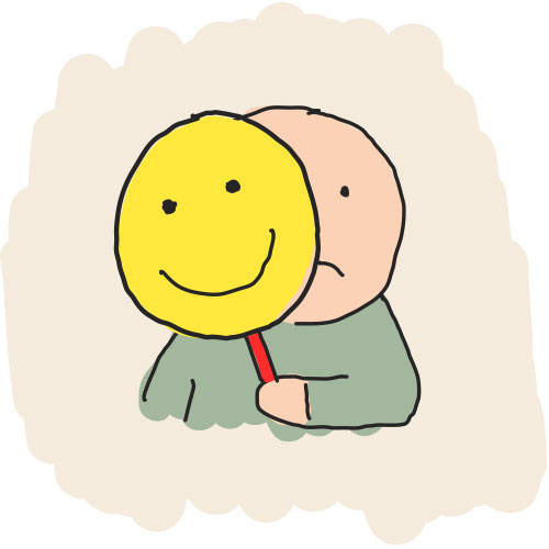 Drawn man hiding behind smile mask.
