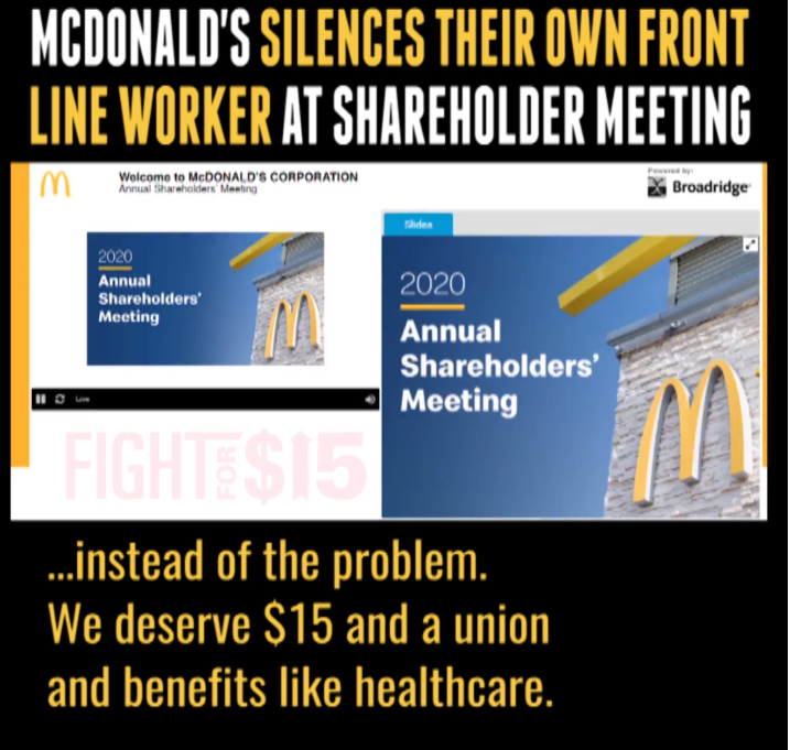 McDonald''s silences their own front line worker at shareholder meeting.
