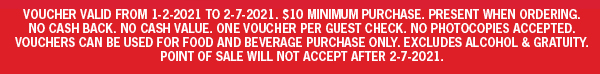 Voucher valid from 1-2-2021-2-7-2021. No Cash Back, No Cash Value, No Photocopies Accepted  Bonus Cards Can Be Used For Food & Beverage Only.  Not Valid Towards Alcohol Purchases By PA Law  For More information, See Your Local Manager.  Good At Participating Hoss's & Marzoni's Locations Only