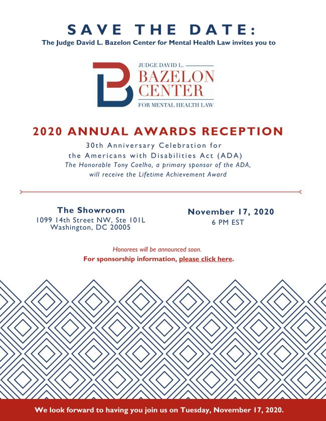 Bazelon Center November 17 2020 SAVE THE DATE card