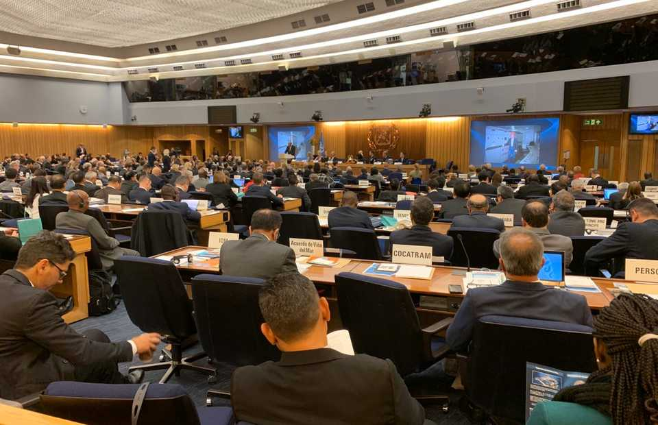 The 31st plenary meeting of the International Maritime Organization (IMO) in London ended on Friday. (Photo courtesy of the Transportation Ministry)