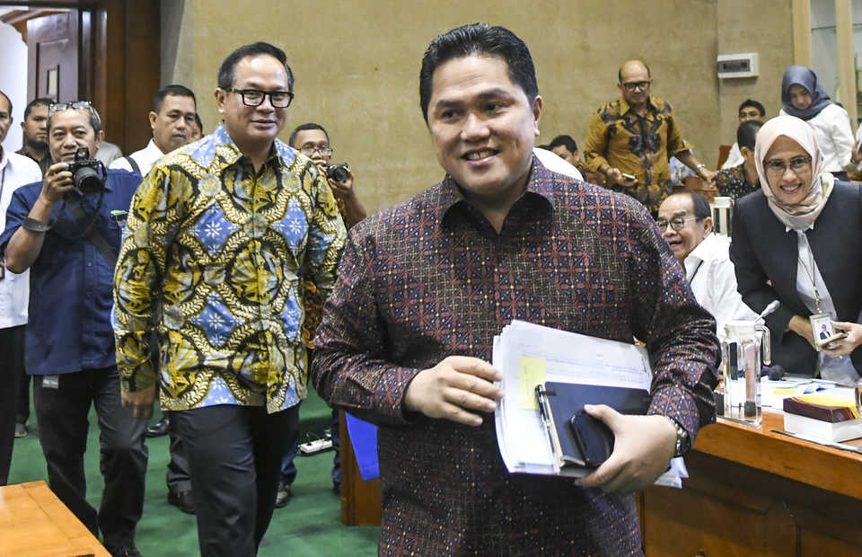 State-Owned Enterprises Minister�Erick Thohir meets House of Representatives' Commission VI on Monday. (Antara Photo/Galih Pradipta)