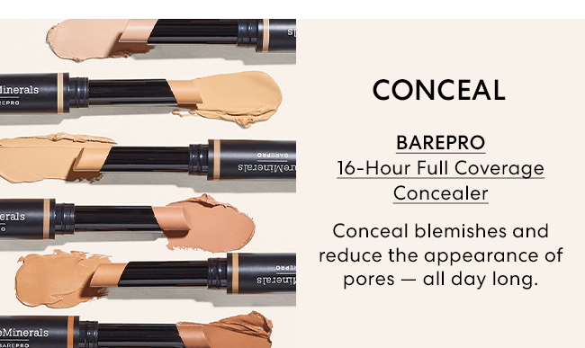 Conceal - Barepro 16-Hour Full Coverage Concealer - Conceal blemishes and reduce the appearance of pores - all day long.