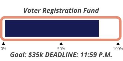 Voter Registration Fund Goal: $35k Deadline: 11:59 P.M.