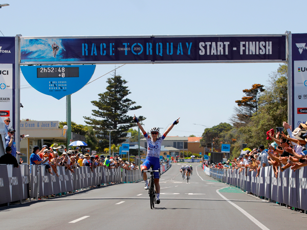 Brodie Chapman crossing the Race Torquay finish line