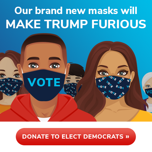 Our brand new masks will MAKE TRUMP FURIOUS! DONATE TO ELECT DEMOCRATS >>