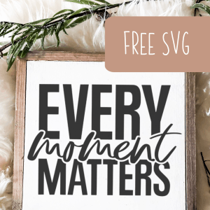 Free SVG 'Every Moment Matters' Cut File for Silhouette or Cricut (Portrait, Cameo, Curio or Explore, Maker, Joy) - by cuttingforbusiness.com.